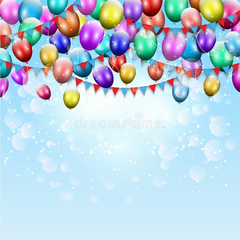 Ballons et fond d'étamine illustration de vecteur