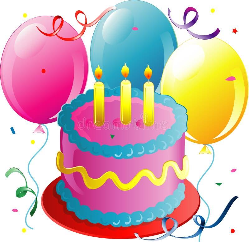 Ballons et gâteau illustration stock