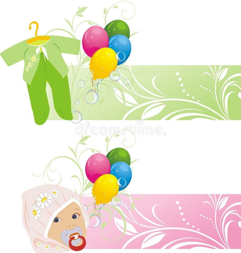 Ballons et procès colorés de chéri. Deux drapeaux illustration stock