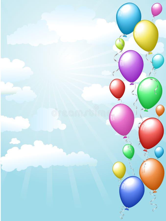 Ballons flottant dans le ciel illustration stock