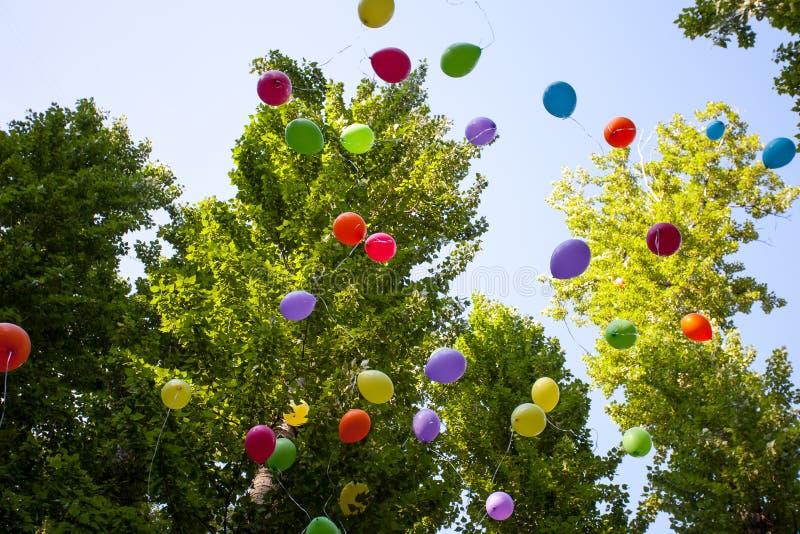 Ballons in het festival van het de zomerpark in een Zonnige dag royalty-vrije stock afbeelding