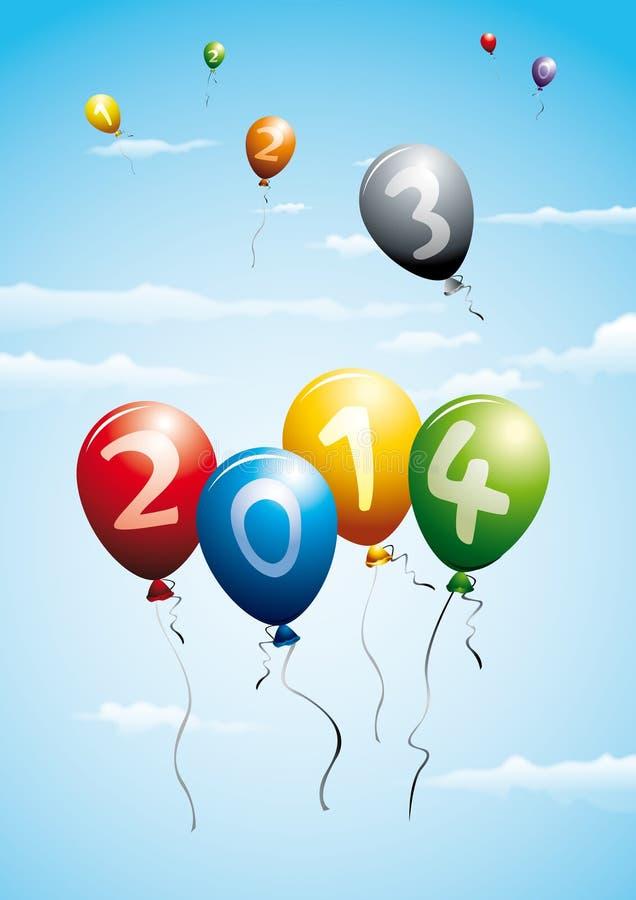 Ballons indiquant la nouvelle année 2014 illustration stock