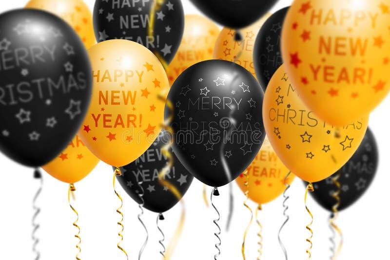 Ballons lumineux 2018, Noël, ballon d'or et de noir de nouvelle année avec le scintillement sur le fond blanc D'isolement Ballon image stock