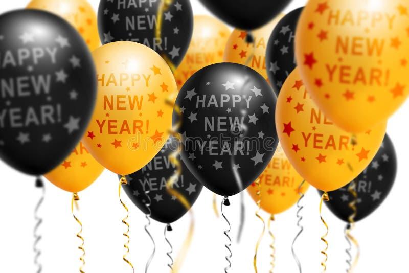 Ballons lumineux 2018, Noël, ballon d'or et de noir de nouvelle année avec le scintillement sur le fond blanc D'isolement Ballon images stock