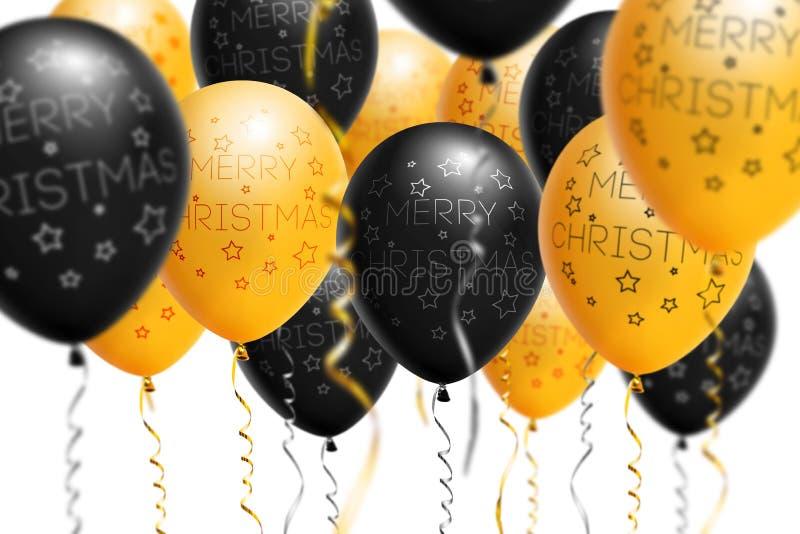 Ballons lumineux 2018, Noël, ballon d'or et de noir de nouvelle année avec le scintillement sur le fond blanc D'isolement Ballon photo stock