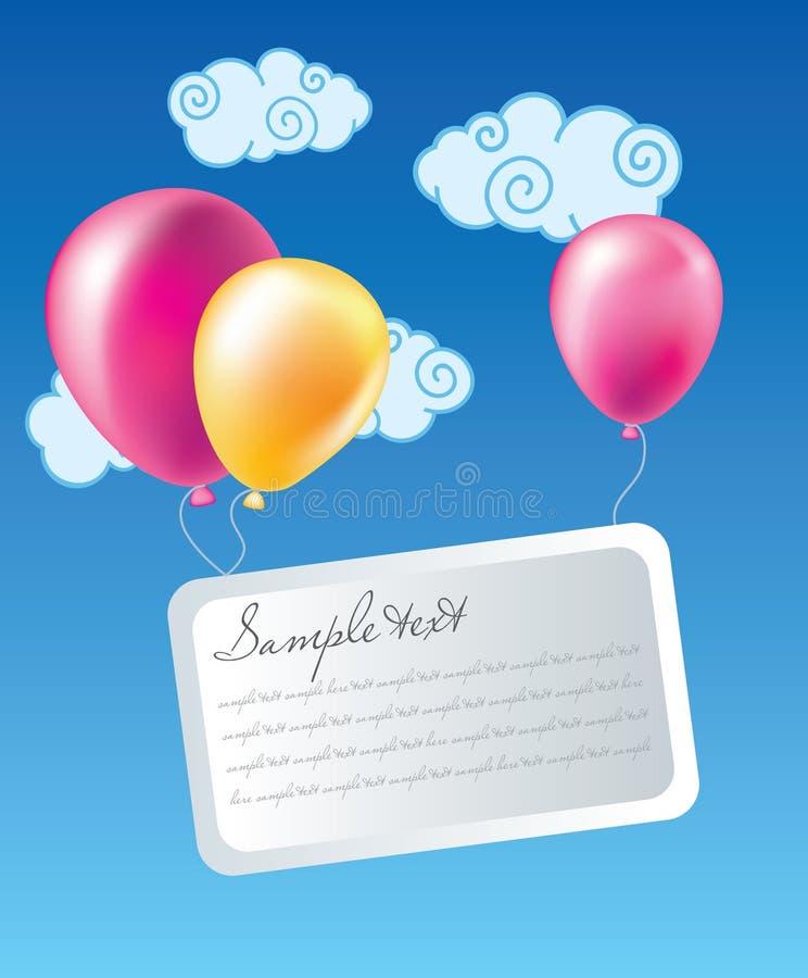 Ballons met kaart royalty-vrije illustratie