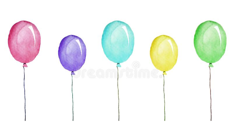 Ballons multicolores, illustration d'aquarelle d'isolement sur le blanc illustration libre de droits