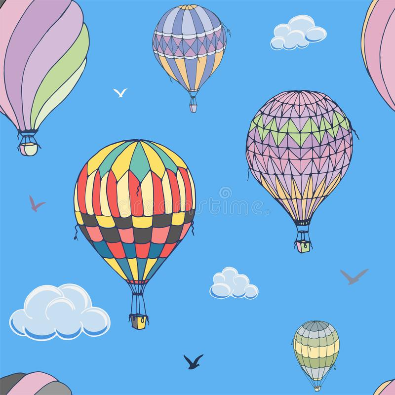 Ballons naadloos vectorpatroon op blauwe achtergrond Vele verschillend gekleurde gestreepte luchtballons die in de betrokken heme stock illustratie