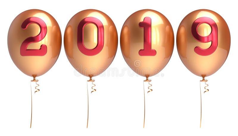 Ballons 2019 Nieuwjaren Vooravond geschikte gouden rode glanzend van vier rijen vector illustratie