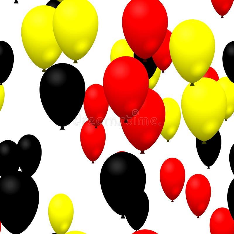 Ballons noirs jaunes rouges de partie illustration de vecteur