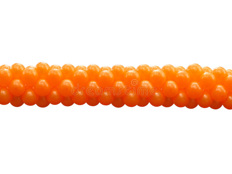 Ballons oranges d'une partie de groupe d'isolement photo stock