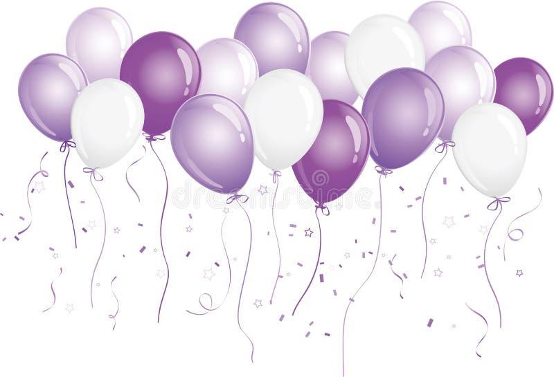 Ballons pourprés et blancs illustration stock