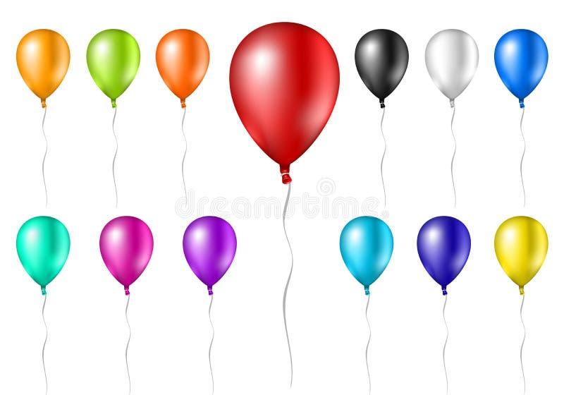 Ballons réalistes colorés d'isolement sur le fond blanc avec des ficelles, ensemble de flotter les ballons joyeux illustration libre de droits