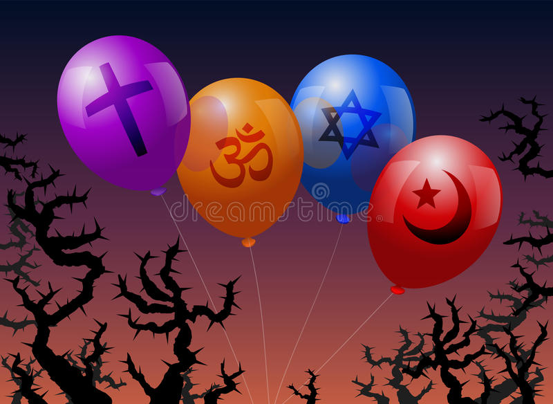 Balloons Religion. Four balloons, which are labeled with the signs of Christianity, Hinduism, Judaism and Islam. They are threatened by thorns royalty free illustration