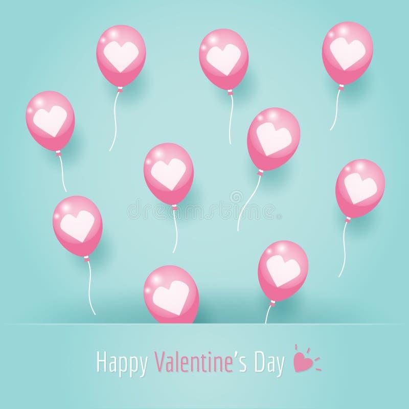 Ballons roses de coeur illustration libre de droits