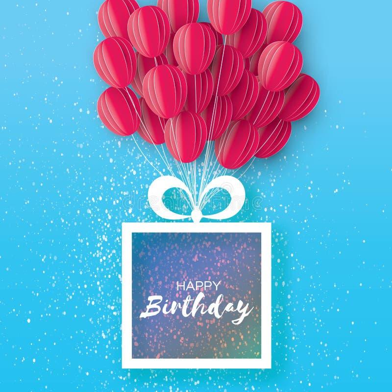 Ballons roses de coupe de papier de vol Carte de voeux de joyeux anniversaire Boîte-cadeau d'origami L'espace pour le texte Trame illustration stock