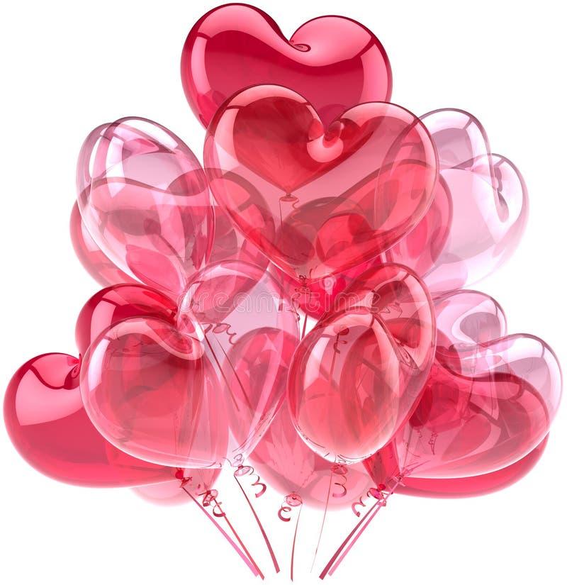 Ballons roses de réception sous la forme comme coeurs photo stock