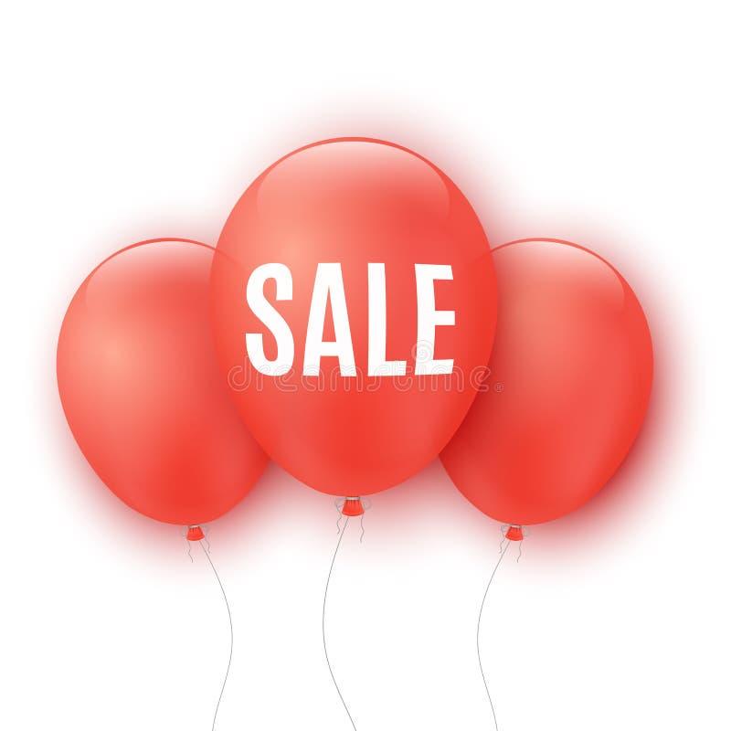 Ballons rouges avec la vente des textes d'isolement sur le fond blanc Votre projet d'affaires Offre spéciale Grands escomptes Ban illustration de vecteur