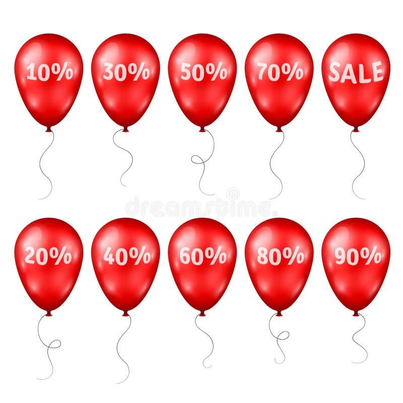 Ballons rouges avec les pour cent et le texte de vente illustration libre de droits