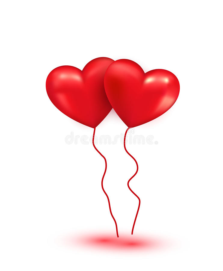 Ballons rouges brillants de coeur illustration stock
