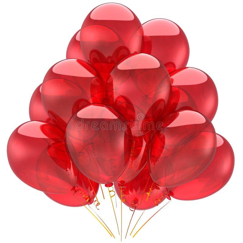 Ballons rouges de réception d'hélium (locations) illustration de vecteur