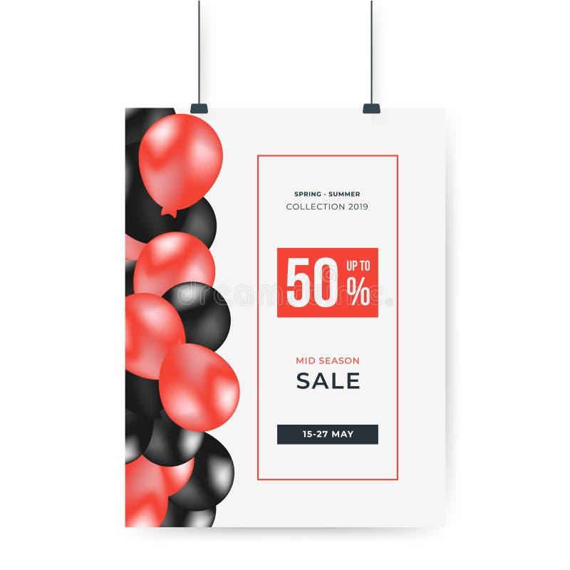 Ballons rouges et noirs avec 50% outre de l'offre spéciale d'affiche de grande vente Conception de calibre de banni?re de vente C illustration libre de droits