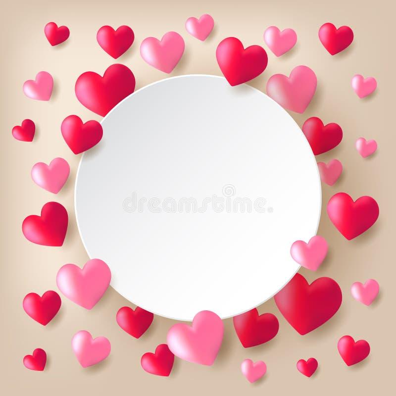 Ballons rouges et roses de coeur illustration de vecteur
