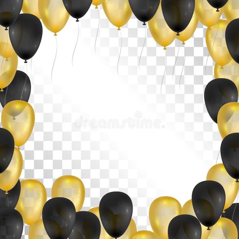 Ballons sur le fond transparent Or et cadre noir Illustration de vecteur illustration stock
