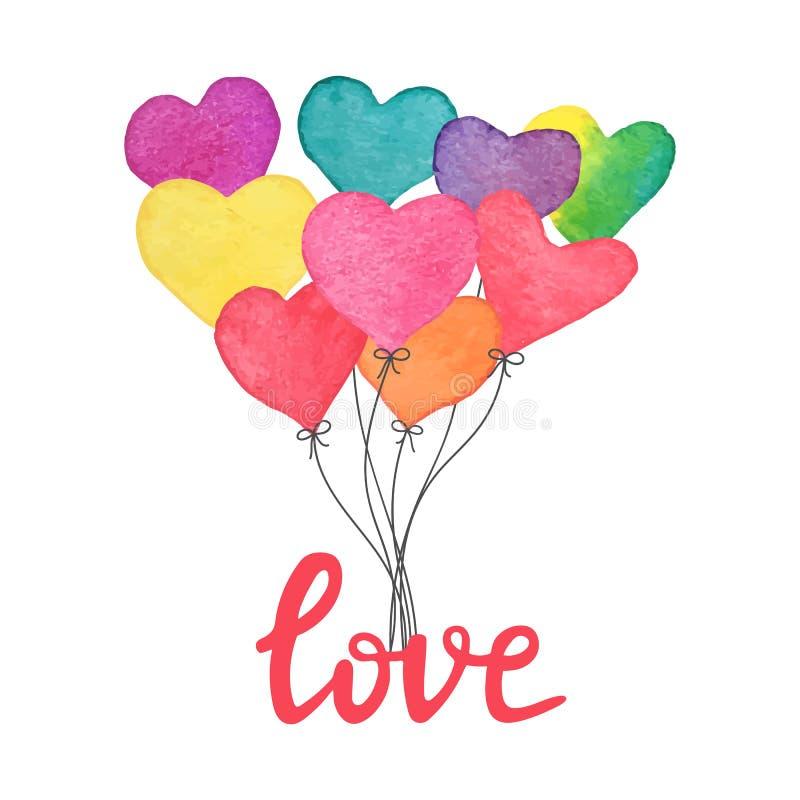 Ballons tirés par la main de coeur d'aquarelle avec le texte écrit de main je t'aime Carte fabriquée à la main de jour de valenti illustration stock