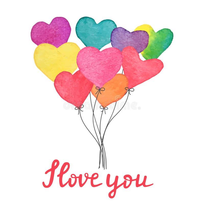 Ballons tirés par la main de coeur d'aquarelle avec le texte écrit de main je t'aime Carte fabriquée à la main de jour de valenti illustration de vecteur