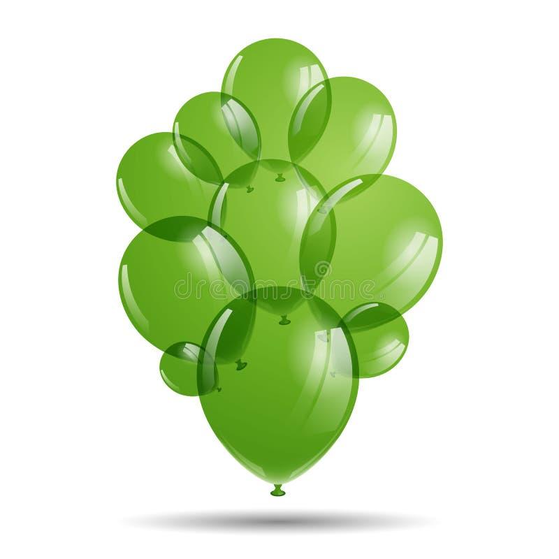 Ballons verts illustration de vecteur