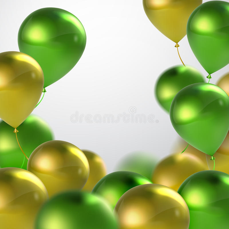Ballons verts et d'or illustration libre de droits