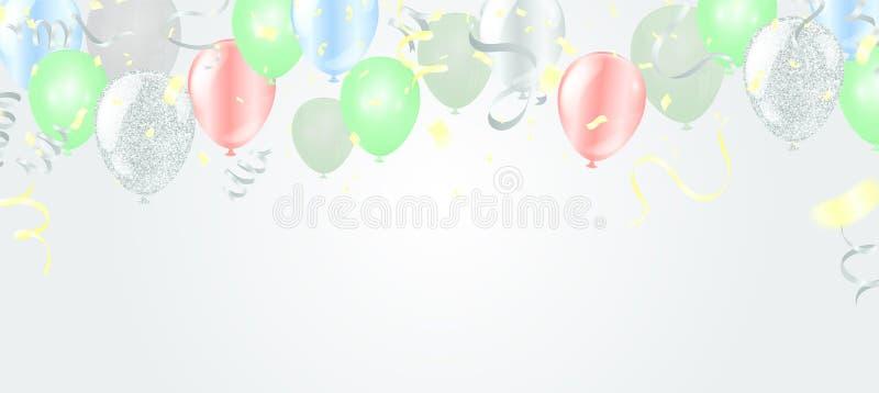 Ballons volant sur le fond, idéal pour montrer votre mariage, anniversaire, célébration ou vacances illustration de vecteur