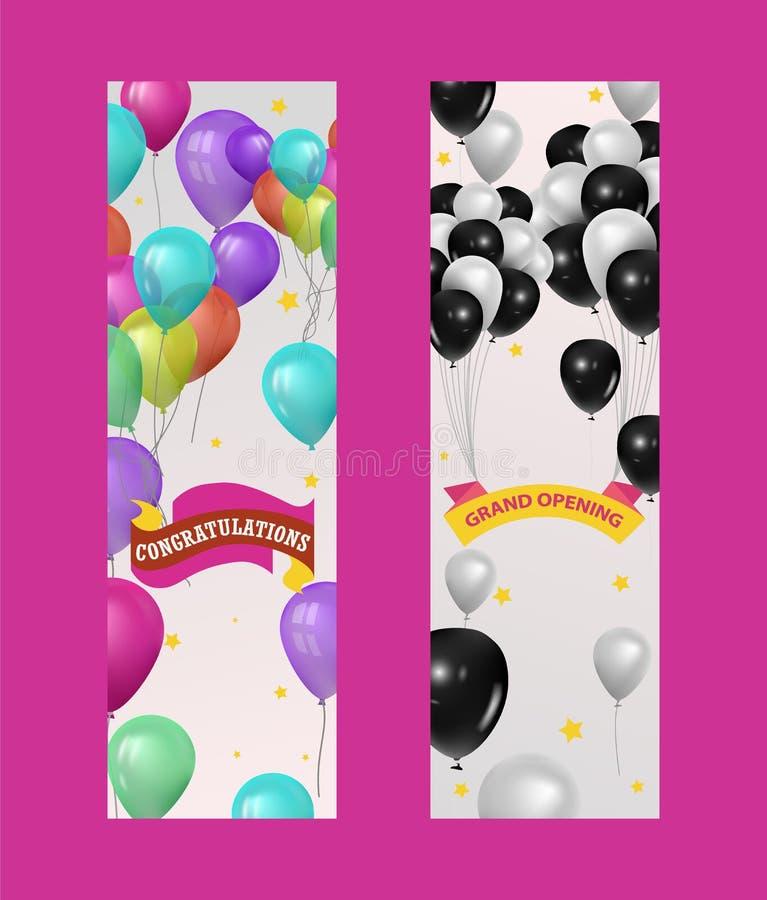 Ballons voor partij, verjaardags of rand het openen gebeurtenisbanner, vectorillustratie Het vliegen glanzende gekleurd en zwarte stock illustratie