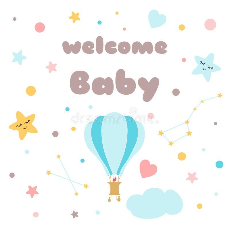 Ballonsternhimmel Babypartyschablone Vektor-Illustration Luft des Kinderplakat Text-Willkommensbabys nette stock abbildung