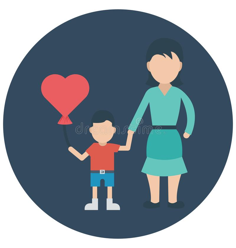 Balloon, Affectionate mother That can be easily edited in any size or modified. royalty free illustration