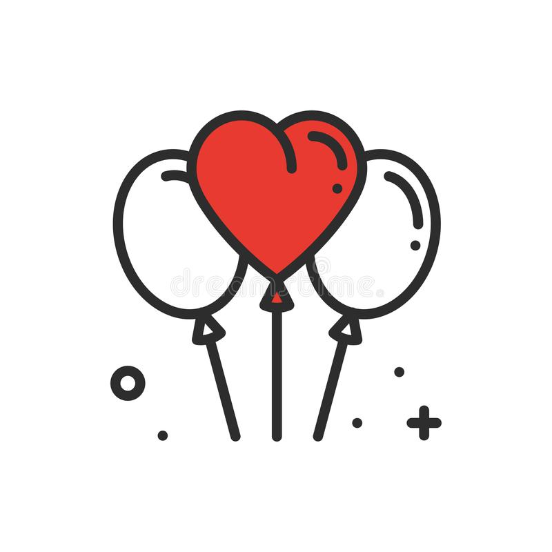 Balloon, air balloon line heart icon. Love sign and symbol. Love relationship wedding holiday romantic party celebration royalty free illustration
