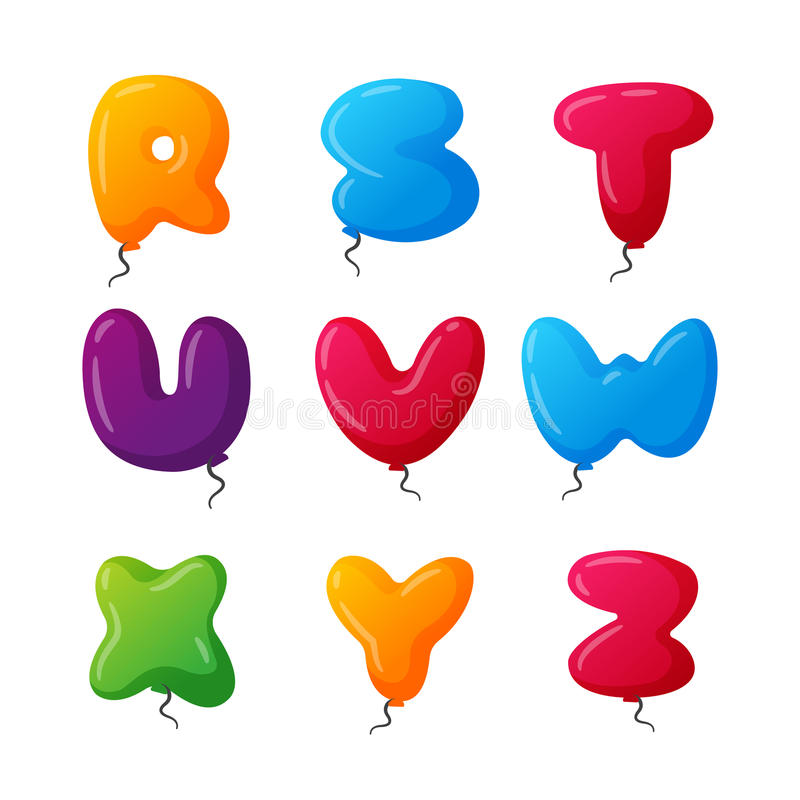 Balloon alphabet vector set. English balloon colorful alphabet on white background. Holidays and education ozone type. Greeting helium cartoon festive royalty free illustration