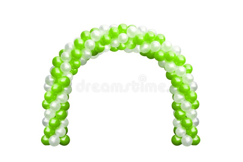 Balloon Archway door Green and white, Arches wedding, Balloon Festival design decoration elements with arch floral design stock photography