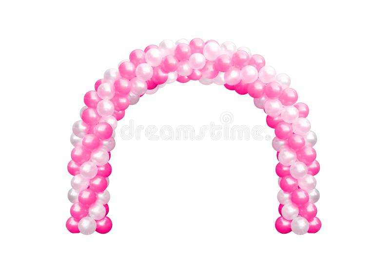 Balloon Archway door Pink and white, Arches wedding, Balloon Festival design decoration elements with arch floral design. Isolated on white Background stock photo