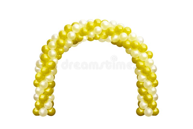 Balloon Archway door Yellow Gold and white, Arches wedding, Balloon Festival design decoration elements with arch floral design stock images