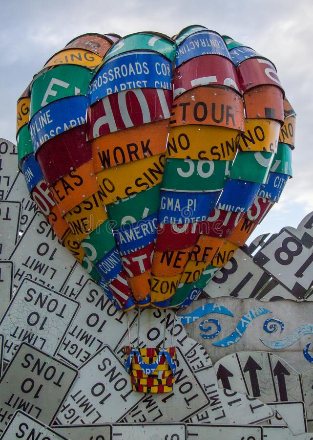 Balloon Art from old street signs. Meadville, PA. Display of art made from old street signs. Meadville, PA stock photography