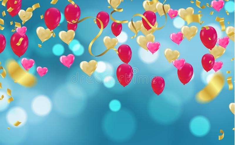Balloon on a  background. Festive rubber ball filled with helium streamers and balloons ballons,  celebrate background stock illustration