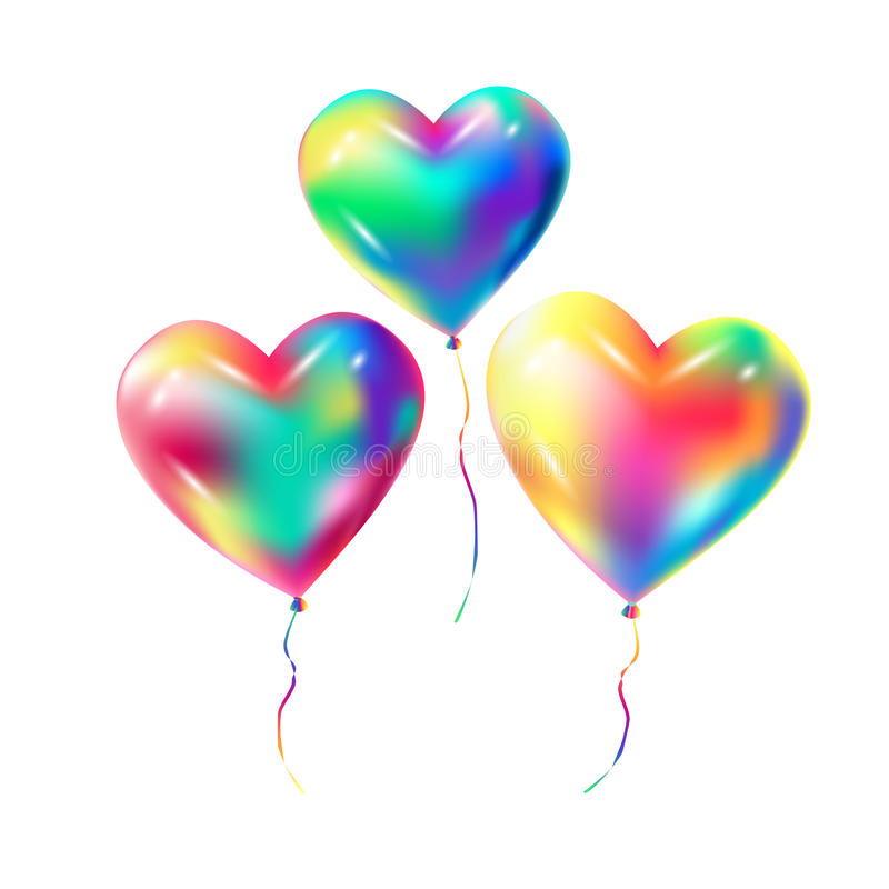 Balloon hearts 3D Birthday royalty free illustration