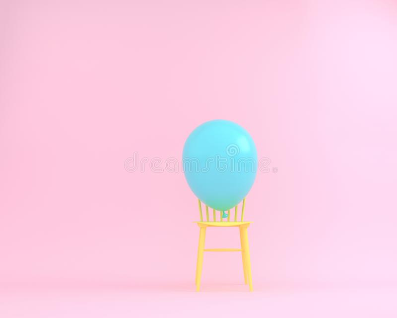Balloon blue pastel with yellow chair on pink color background stock images