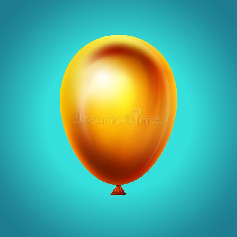 Balloon on blue sky background.Vector realistic icon. Happy anniversary, wedding, birthday decoration. Realistic 3d royalty free illustration