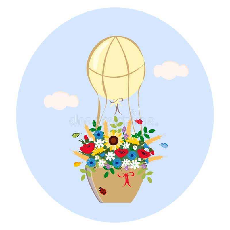 Balloon with bouquet of wildflowers royalty free illustration
