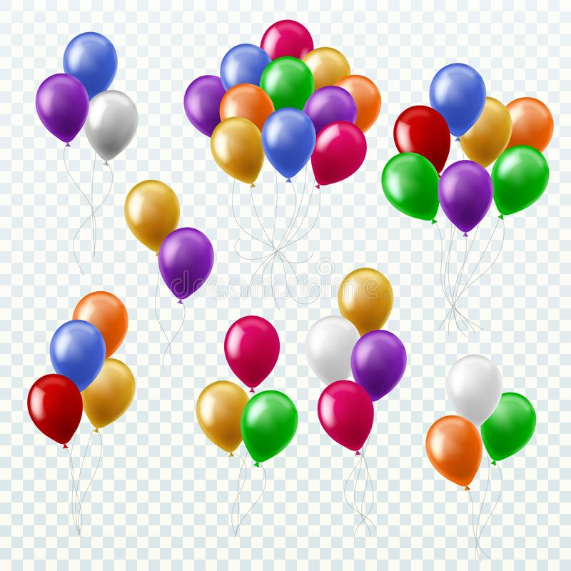 Balloon bunches. Party decoration color balloons flying groups isolated 3d vector set stock illustration