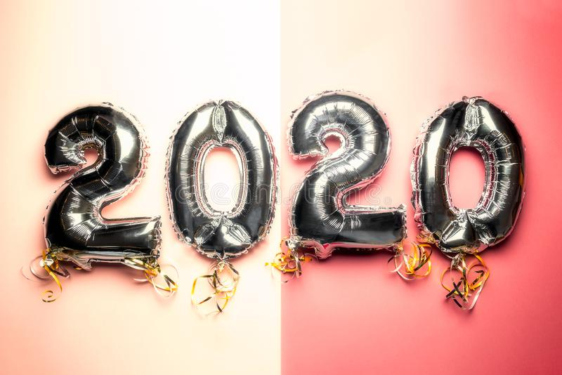 Balloon Bunting for celebration of New Year 2020 stock photo