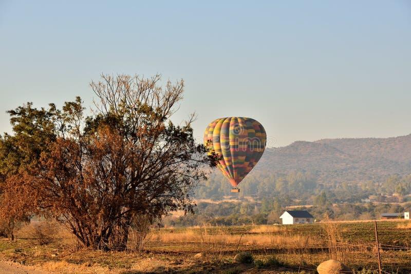 Balloon In The Bush. Early morning balloon safari skeerpoort South Africa stock photo